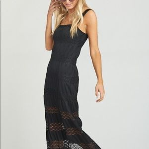 NWT Show Me Your Mumu Black Harlowe Lace Maxi Dres